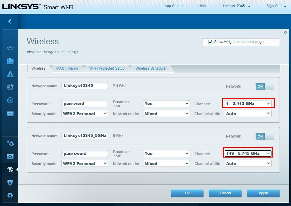 linksys wireless channels