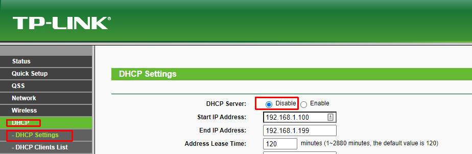 tp-link disble DHCP